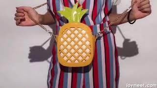 2018 new leather female bag hollow-out pineapple single shoulder bag chic chain slanting