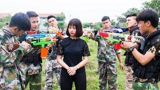 3T Nerf War : Squad Alpha Female Police Nerf guns Rescue Teammates From Criminal Group