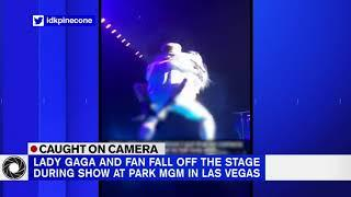 Lady Gaga and fan fall off stage in Las Vegas