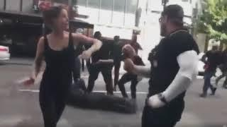 Antifa attacks man with metal pole. Is knocked out.