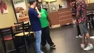 Female Subway employee pulls out a knife on 3 guys calling her names