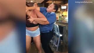 Shocking moment girl throws milkshake and hits McDonald's staff