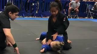 Rear Naked Choke Out by 7yr Old female White Belt at First Jiu Jitsu Tournament