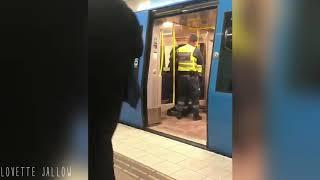Pregnant woman without ticket dragged off train by guards in Sweden.