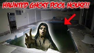 I CAUGHT A FEMALE GHOST on CAMERA IN A HAUNTED POOL HOUSE!! (PROOF SHE WAS ATTACKED)