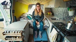 Solo Female Vandweller Builds Modern Style Stealth Cargo Van Camper - Van Life Tour.