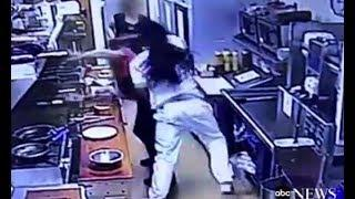 Man PUNCHES woman chef in the face and gets chased out by her gun toting female co-worker
