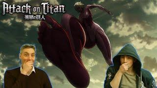 """My Dad Reacts to Attack on Titan 1x17 - """"Female Titan"""" or The Creepy Spider Titan Steals The Show!"""