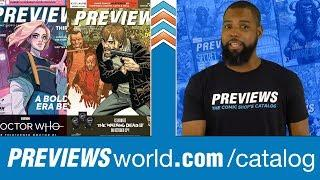 Inside August's PREVIEWS: WALKING DEAD Turns 15 + The First Female DR. WHO + SPIDERGEDDON + More!