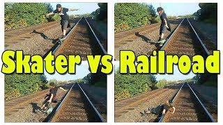 Skater vs Railroad - Female Skateboard Fail
