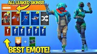ALL LEAKED FORTNITE EMOTES AND SKINS..!!! (Crazy Feet, Lil' Kev, Female Llama Rider, Flapjackie)