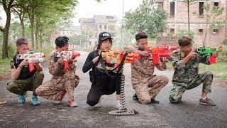 3T Nerf War : Squad Alpha Female Sheriff Nerf guns Escape the Criminal Circle