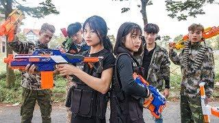 3T Nerf War : Squad Alpha Two Female Police Officers Nerf guns Tracing The Crime