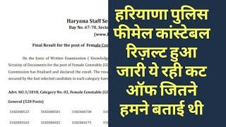 HSSC BREAKING:HARYANA POLICE FEMALE CONSTABLE FINAL RESULT DECLARED BY HSSC CUT OFF DETAIL