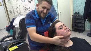 ASMR BARBER MASSAGE : TURKISH VS ITALY MASSAGE : FEMALE : head ,arm ,face ,back massage=BAYAN MASAJI