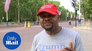 Both Trump supporters and protestors hang outside Buckingham Palace