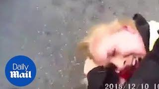 Two female police officers are attacked by crazed man