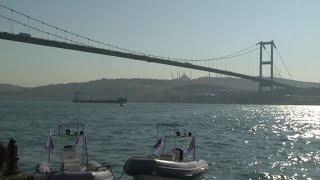 VIDEO: Turkish police female members plunge into the waters of Bosporus for International Women's Da