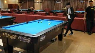 World #1 Female pro Siming Chen playing on a bar table for the first time