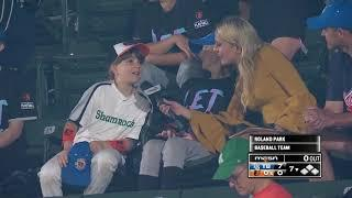 Sara Perlman chats with female youth baseball players