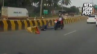 Accident leaves 5-year-old girl trapped on out-of-control motorcycle