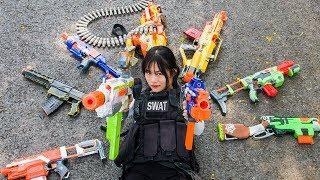 3T Nerf War : Squad Alpha Special Female Forces Nerf guns Hunting and Destroy Criminal Group