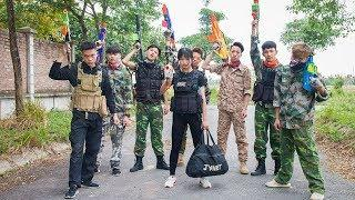 3T Nerf War : Squad Alpha Female Police Special Nerf guns Against Criminals Attack the Police