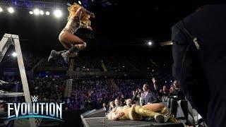 Becky Lynch's ladder leap sends Charlotte Flair through announce table: WWE Evolution 2018