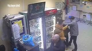 Russian Girl Knocks Out Man harassing a homeless man with Deadly Punch in Store