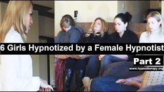 Elena Beloff Hypnosis show Part 2 - 6 girls hypnotized by a female hypnotist.