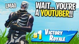 SKULL TROOPER CARRIES NOOB TO A WIN IN FORTNITE... (He Found Out I'm A YOUTUBER)