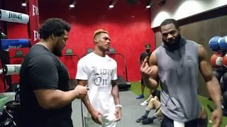 Jermell Charlo shows his sick ab routine 2 boxers female Mike Tyson!