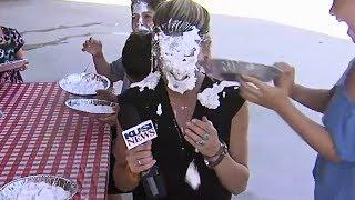 Female News Reporter Dani Ruberti gets Pied in the Face | Good Morning San Diego