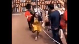 INSULTING Moment When QUEEN'S GUARD Violently Pushed a Lady Tourist Out of His Way at Windsor Castle