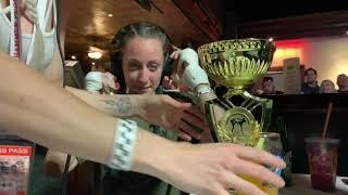 Female Fighter Wins Fight and Chugs Beer out of Trophy during post-fight interview! Legendary