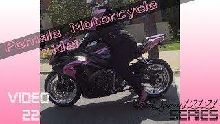 Female Motorcycle Rider: Pink GSX-R 750