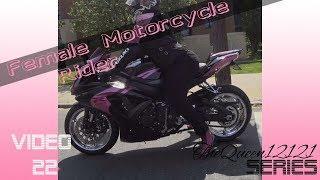 Female Motorcycle Rider: Pink GSX-R 750