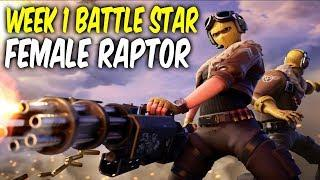 Fortnite week 1 battle star Location.Female Raptor skin