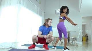 Yoga Home Work out New Female Fitness Free Personal Trainer Yoga Lesson Funny Partner Work it out