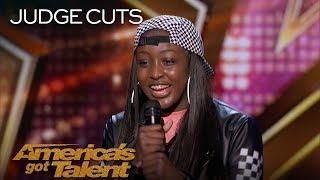Flau'jae: 14-Year-Old Rapper Earns Golden Buzzer From Chris Hardwick - America's Got Talent 2018