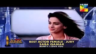 Saba Qamar Best Female Actress Award at 3rd Hum Awards