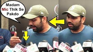Rohit Sharma Gets Angry On Female Reporter For Not Holding Her Mic Properly