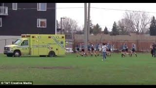 Female school rugby team push '12,000lb ambulance' out of ditch