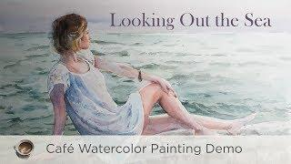 Looking out the sea - painting female figure in a scenery