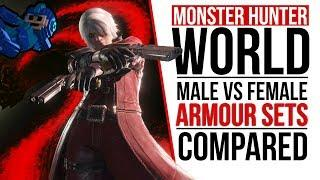Monster Hunter: World | MALE & FEMALE ARMOR SETS COMPARED | WHO WEARS IT BETTER?