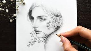 DRAWING a FEMALE FACE with FLOWERS