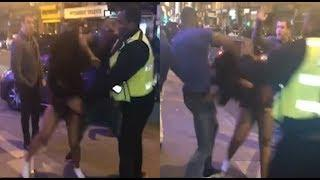 Thug batters woman outisde London nightclub in brutal NYE attack | Video