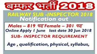 RAILWAY SUB- INSPECTOR NOTIFICATION OUT // MALE -819 FEMALE -301 पद , syllabus, age, qualifications,