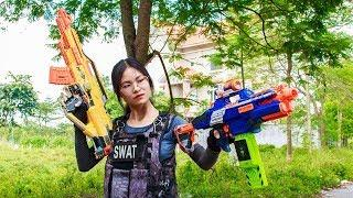 3T Nerf War : Squad Alpha S.W.A.T & Female Police Force Nerf guns Fight with The Armed Robbery Group