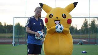 Pikachu vs. Female Football Player - Football Challange